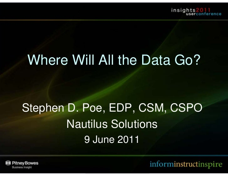 Where Will All the Data Go?        Stephen D. Poe, EDP, CSM, CSPO                Nautilus Solutions                       ...