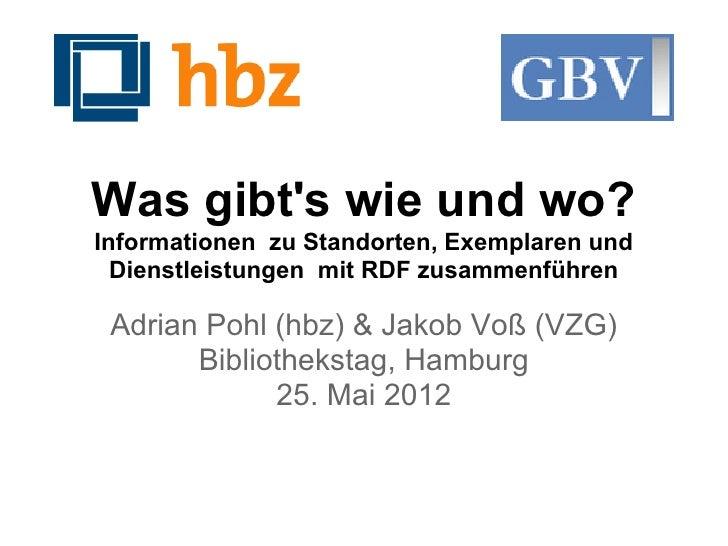 Was gibts wie und wo?Informationen zu Standorten, Exemplaren und  Dienstleistungen mit RDF zusammenführen Adrian Pohl (hbz...