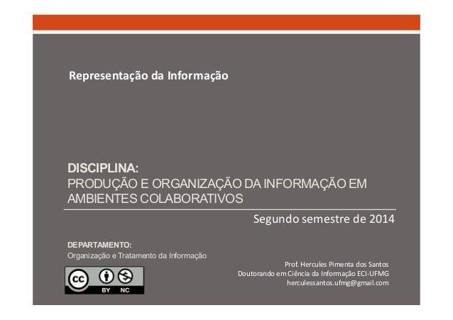 DISCIPLINA:  PRODUÇÃO E ORGANIZAÇÃO DA INFORMAÇÃO EM  AMBIENTES COLABORATIVOS  Segundo semestre de 2014  Representação da ...