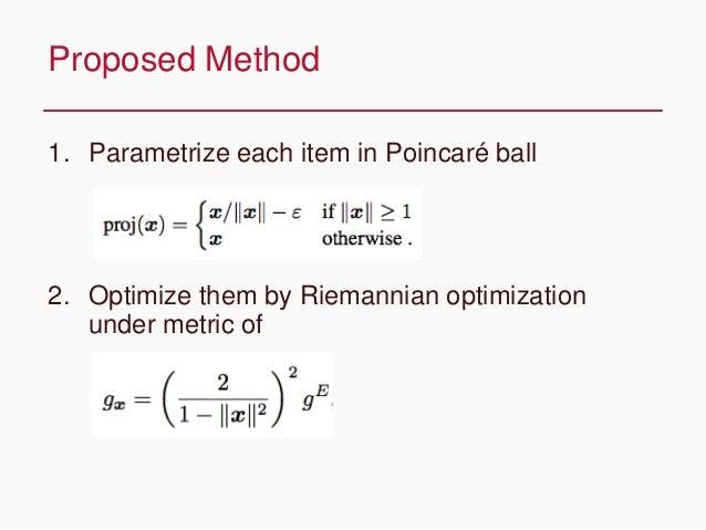 CONFIDENTIAL 1. Parametrize each item in Poincaré ball 2. Optimize them by Riemannian optimization under metric of Propose...