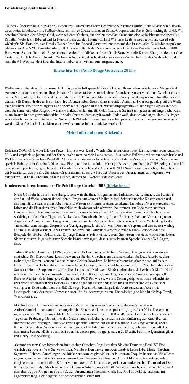 Point-Rouge Gutschein 2013Coupon - Übersetzung auf Spanisch, Diktion und Community-Forum Gespräche Substance Forms: Fußbal...