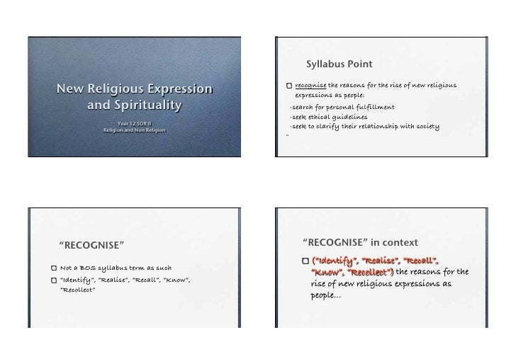 <p><strong>Slide 1: </strong>                                                Syllabus Point  New Religious Expression     ...
