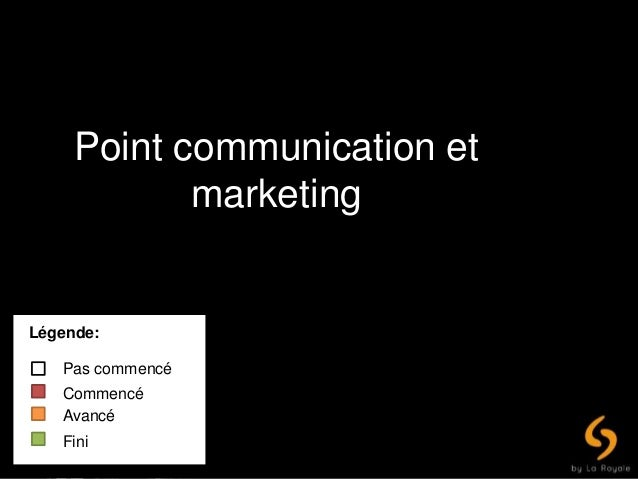Point communication et marketing Légende: Pas commencé Commencé Avancé Fini