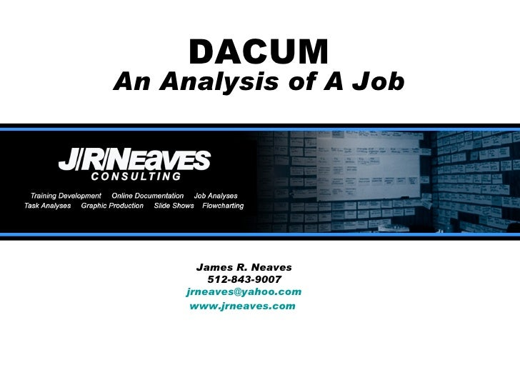 DACUM An Analysis of A Job James R. Neaves 512-843-9007 [email_address] www.jrneaves.com