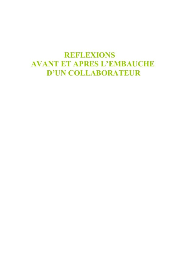 REFLEXIONSAVANT ET APRES L'EMBAUCHE   D'UN COLLABORATEUR