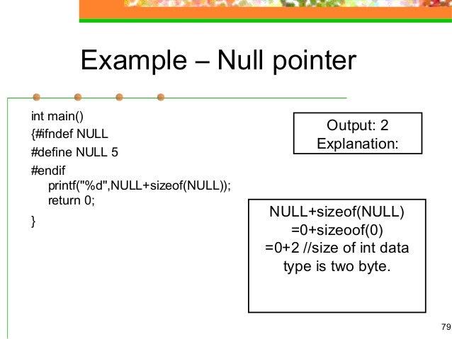 C programming null pointer.
