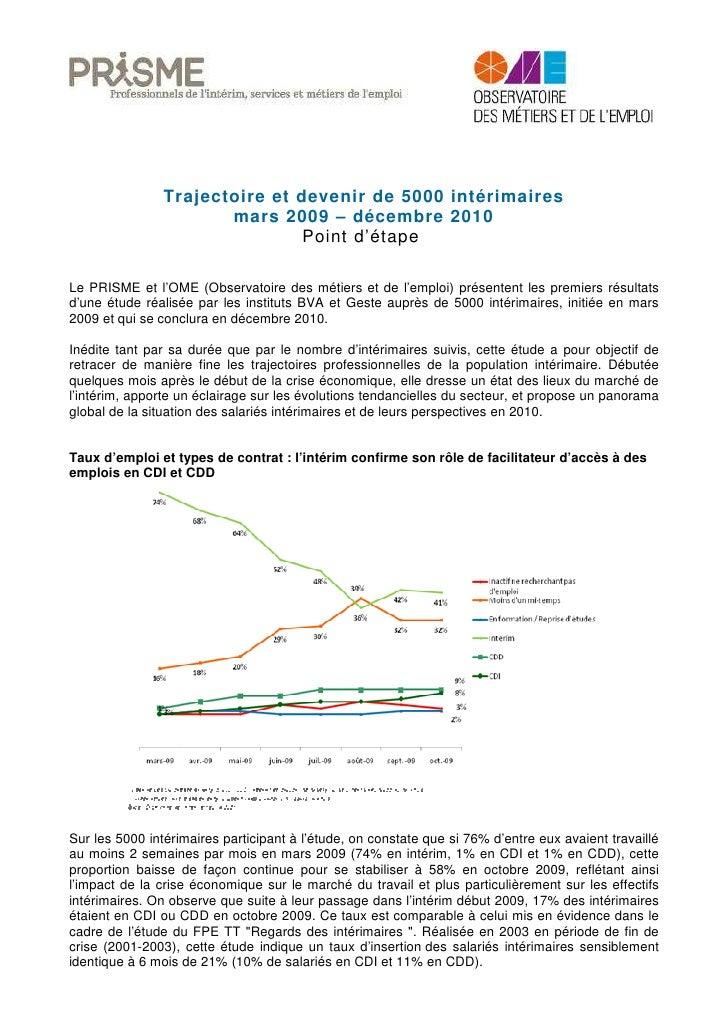 Trajectoire et devenir de 5000 intérimaires                        mars 2009 – décembre 2010                              ...