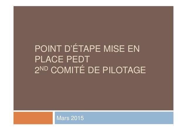 POINT D'ÉTAPE MISE EN PLACE PEDT 2ND COMITÉ DE PILOTAGE Mars 2015