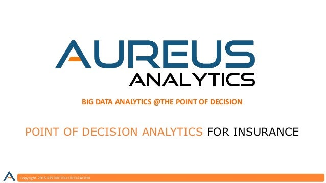 Copyright 2015 RESTRICTED CIRCULATION BIG DATA ANALYTICS @THE POINT OF DECISION POINT OF DECISION ANALYTICS FOR INSURANCE