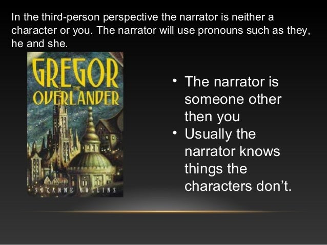 In the third-person perspective the narrator is neither a character or you. The narrator will use pronouns such as they, h...