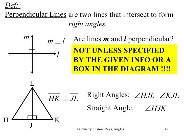 Pointslinesplanesrays, segments and parallel, perpendicular and skew