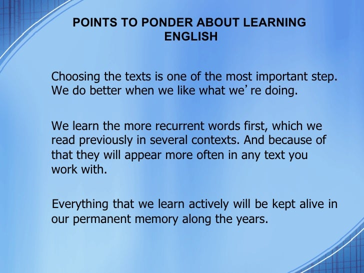 Points To Ponder About Learning English