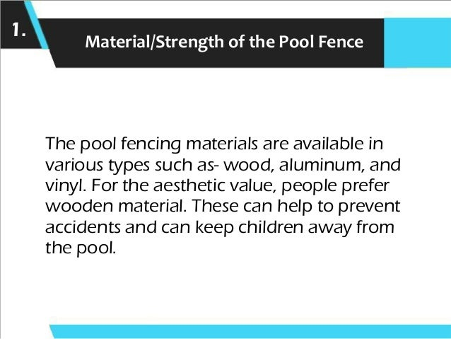 Points to Remember While Choosing a Pool Fence Slide 2
