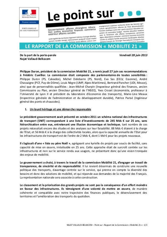 LE RAPPORT DE LA COMMISSION « MOBILITE 21 » De la part de la porte-parole Najat Vallaud-Belkacem  Vendredi 28 juin 2013  P...