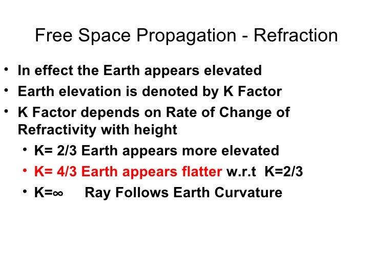 Free Space Propagation - Refraction <ul><li>In effect the Earth appears elevated  </li></ul><ul><li>Earth elevation is den...