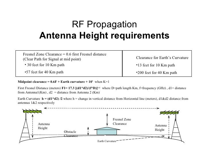 Midpoint clearance = 0.6F + Earth curvature + 10'   when K=1 First Fresnel Distance (meters)  F1= 17.3 [(d1*d2)/(f*D)] 1/2...