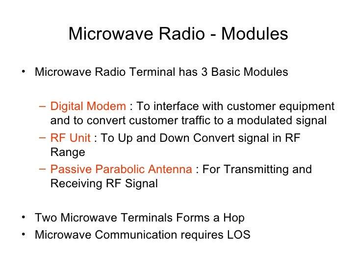 Microwave Radio - Modules <ul><li>Microwave Radio Terminal has 3 Basic Modules </li></ul><ul><ul><li>Digital Modem  : To i...