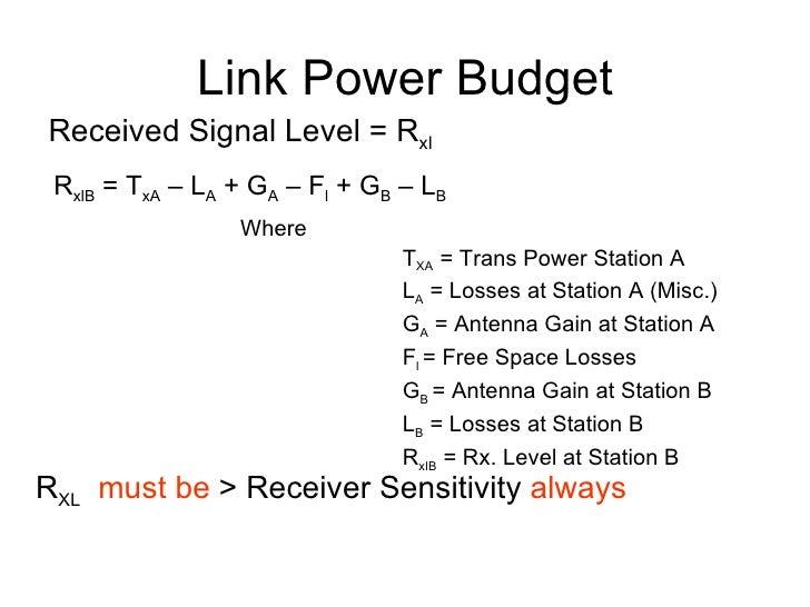 Link Power Budget Received Signal Level = R xl R xlB  = T xA  – L A  + G A  – F l  + G B  – L B   Where T XA  = Trans Powe...