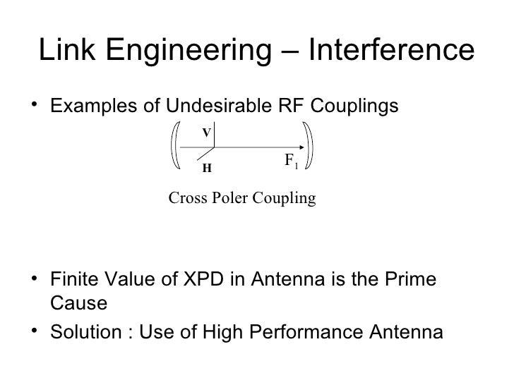 Link Engineering – Interference <ul><li>Examples of Undesirable RF Couplings </li></ul><ul><li>Finite Value of XPD in Ante...