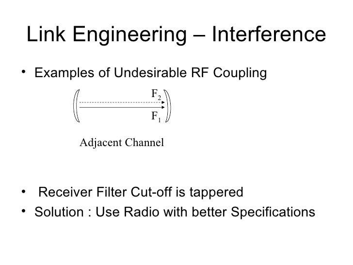Link Engineering – Interference <ul><li>Examples of Undesirable RF Coupling </li></ul><ul><li>Receiver Filter Cut-off is t...