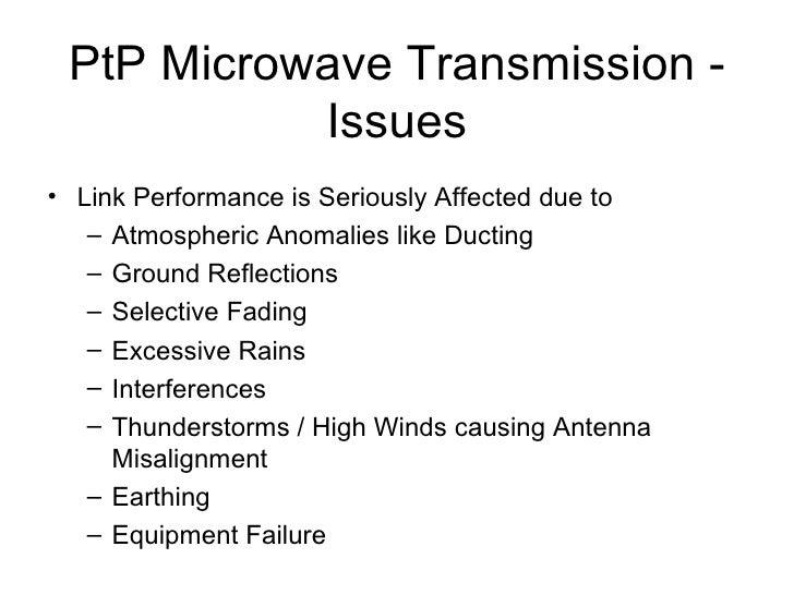 PtP Microwave Transmission - Issues <ul><li>Link Performance is Seriously Affected due to </li></ul><ul><ul><li>Atmospheri...