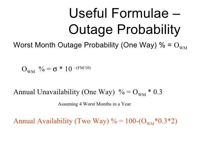 Useful Formulae – Outage Probability <ul><li>Worst Month Outage Probability (One Way) % =  O WM </li></ul><ul><li>O WM   %...