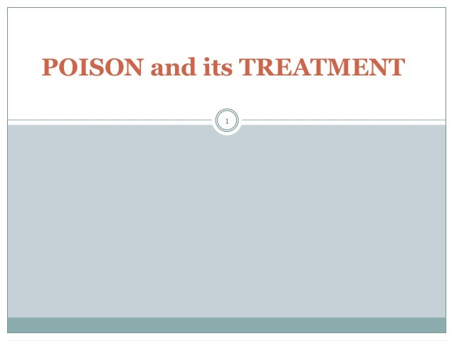 Poison AND treatment
