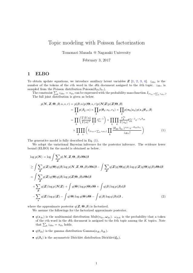 Topic modeling with Poisson factorization Tomonari Masada @ Nagasaki University February 3, 2017 1 ELBO To obtain update e...