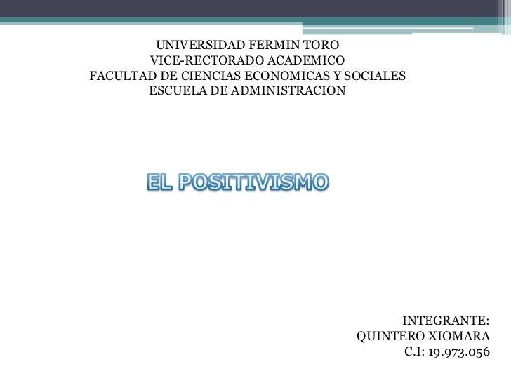 UNIVERSIDAD FERMIN TORO       VICE-RECTORADO ACADEMICOFACULTAD DE CIENCIAS ECONOMICAS Y SOCIALES       ESCUELA DE ADMINIST...