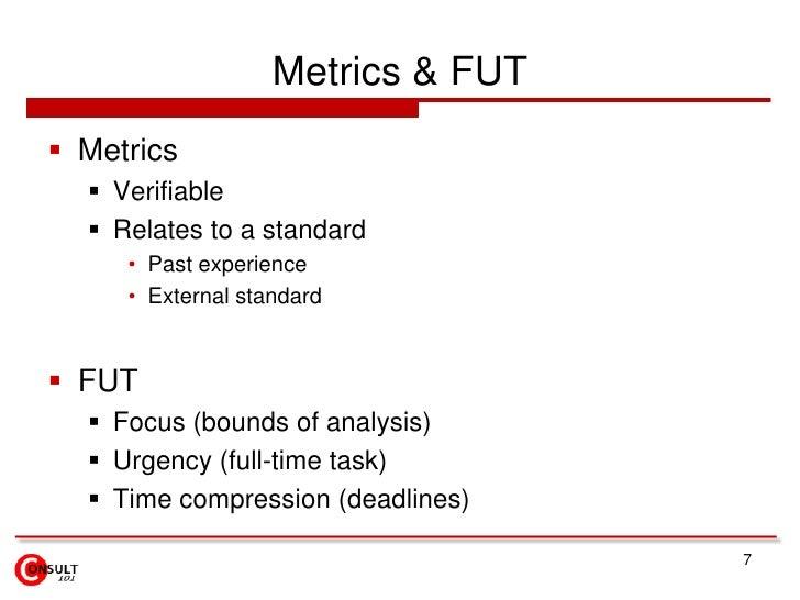 Metrics & FUT<br />Metrics<br />Verifiable<br />Relates to a standard<br />Past experience<br />External standard<br />FUT...