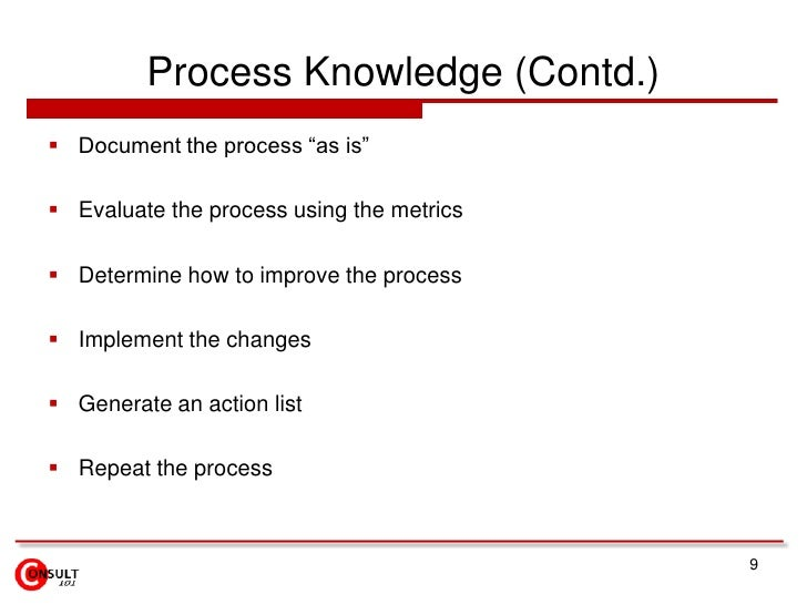"""Process Knowledge (Contd.)<br />Document the process """"as is""""<br />Evaluate the process using the metrics<br />Determine ho..."""