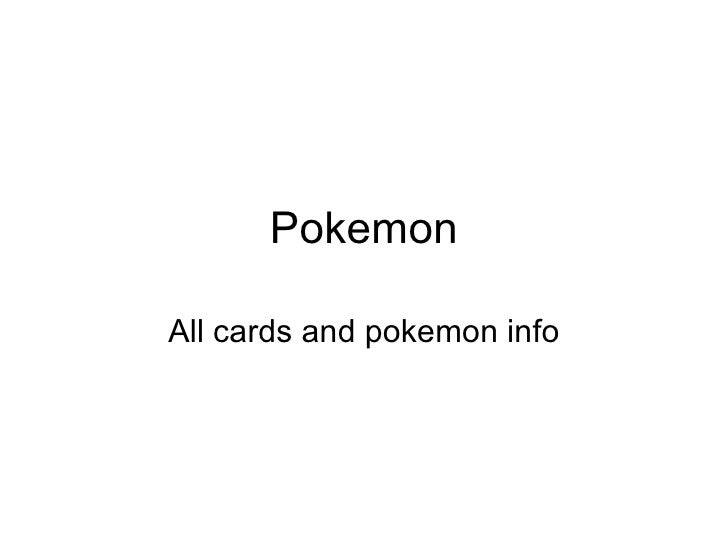 Pokemon All cards and pokemon info