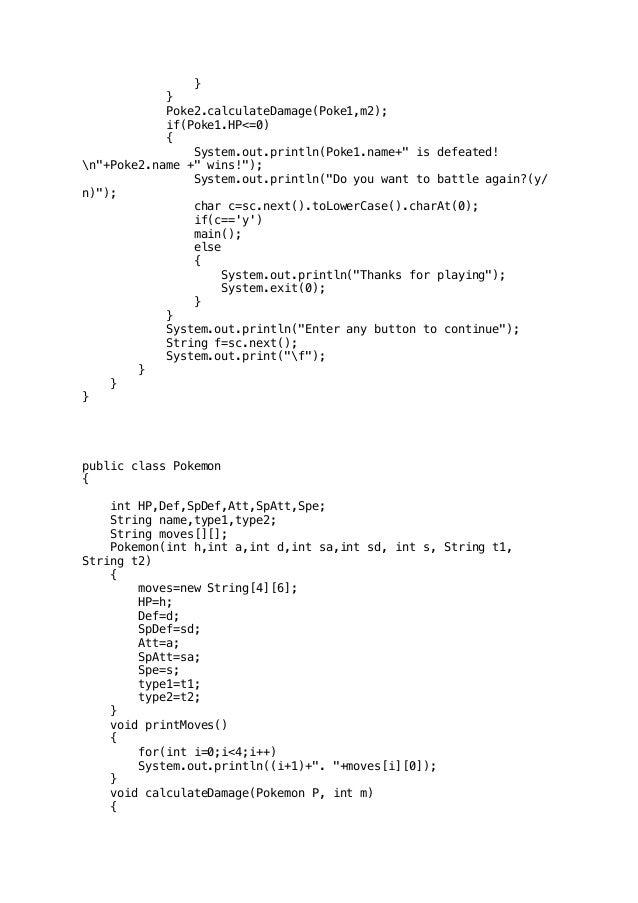 Pokemon battle simulator (Java Program written on Blue J Editor)