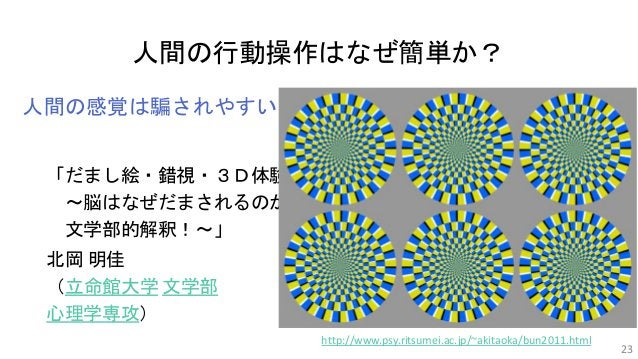 人間の行動操作はなぜ簡単か? 人間の感覚は騙されやすい 「だまし絵・錯視・3D体験 ~脳はなぜだまされるのか? 文学部的解釈!~」 北岡 明佳 (立命館大学 文学部 心理学専攻) 23 http://www.psy.ritsumei.ac.jp...