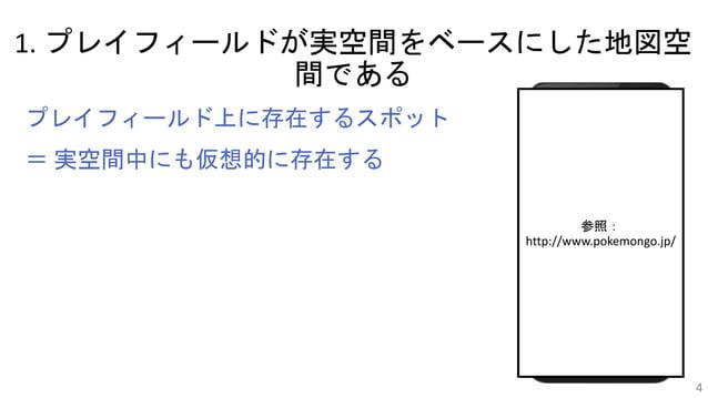 1. プレイフィールドが実空間をベースにした地図空 間である 4 プレイフィールド上に存在するスポット = 実空間中にも仮想的に存在する 参照: http://www.pokemongo.jp/
