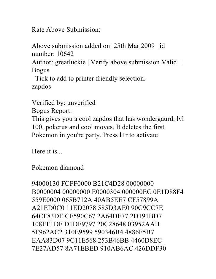 Pokemon Pearl Codes