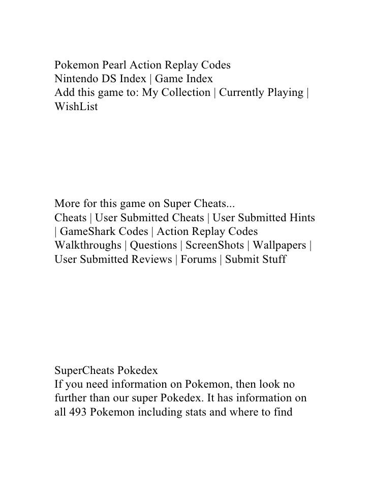 <b>Pokemon Pearl Codes</b>