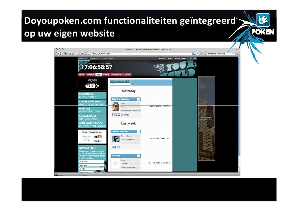 Doyoupoken.com functionaliteiten geïntegreerd op uw eigen website