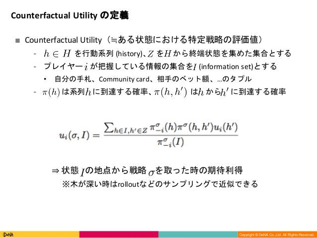 Copyright (C) DeNA Co.,Ltd. All Rights Reserved. Copyright © DeNA Co.,Ltd. All Rights Reserved. ■ Counterfactual Utility(≒...