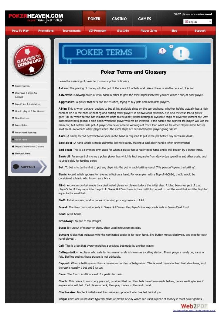 Casino Terms Dictionary
