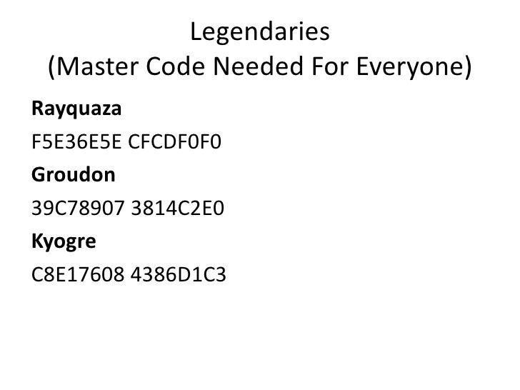 <b>Pokemon Emerald</b>/Sapphire/Ruby gameshark <b>codes</b>