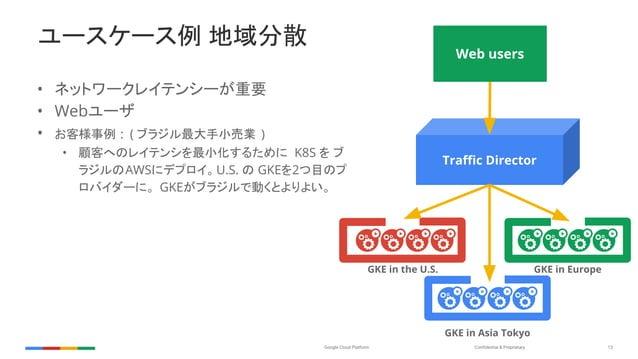 Confidential & ProprietaryGoogle Cloud Platform 13 ユースケース例 地域分散 • ネットワークレイテンシーが重要 • Webユーザ • お客様事例 : ( ブラジル最大手小売業 ) • 顧客への...