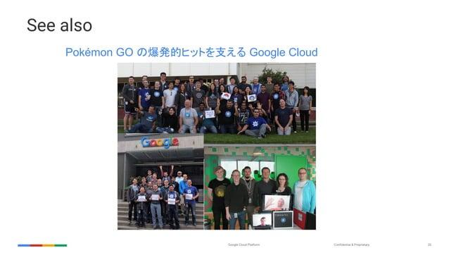 Confidential & ProprietaryGoogle Cloud Platform 20 See also Pokémon GO の爆発的ヒットを支える Google Cloud