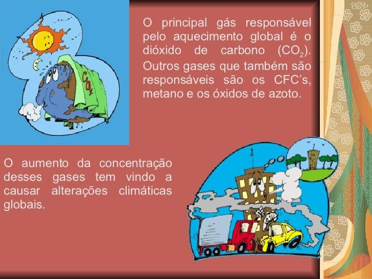 O principal gás responsável pelo aquecimento global é o dióxido de carbono (CO 2 ). Outros gases que também são responsáve...