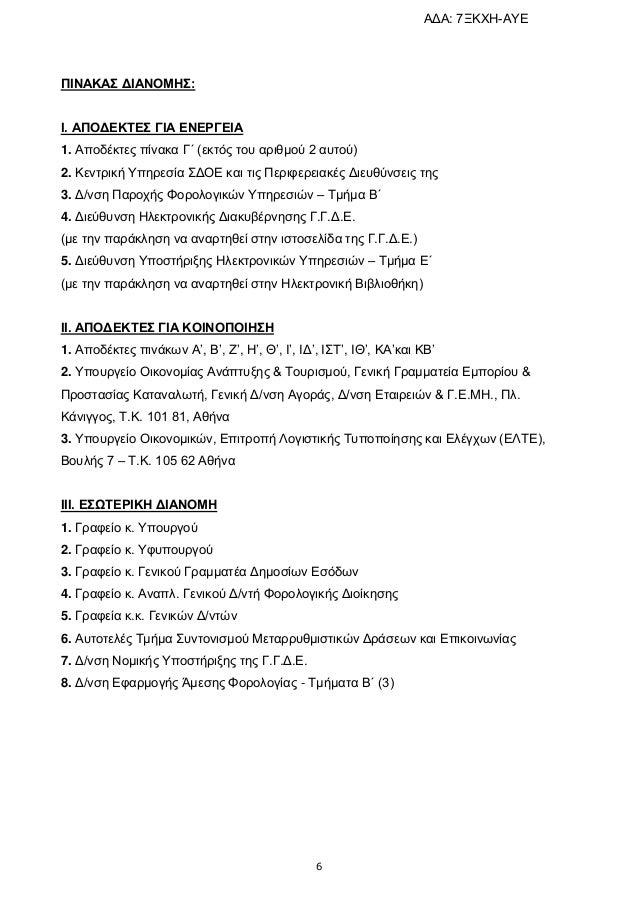 6 ΠΙΝΑΚΑ ΓΙΑΝΟΜΗ: Ι. ΑΠΟΓΔΚΣΔ ΓΙΑ ΔΝΔΡΓΔΙΑ 1. Απνδέθηεο πίλαθα Γ΄ (εθηόο ηνπ αξηζκνύ 2 απηνύ) 2. Κεληξηθή Υπεξεζία ΣΓΟΔ...