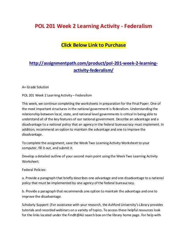 Pol 201 week 2 learning activity federalism