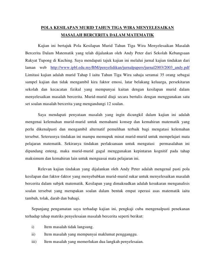 POLA KESILAPAN MURID TAHUN TIGA WIRA MENYELESAIKAN<br />MASALAH BERCERITA DALAM MATEMATIK<br />Kajian ini bertajuk Pola Ke...