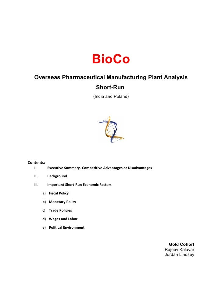 BioCo   Overseas Pharmaceutical Manufacturing Plant Analysis                                       Short-Run              ...