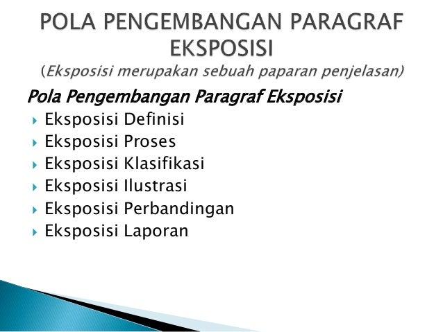Pola Pengembangan Paragraf Eksposisi