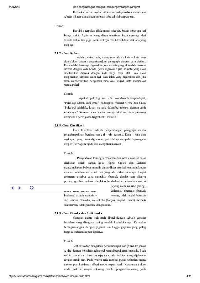Pola Pengmbangan Paragraf Pola Pengembangan Paragraf